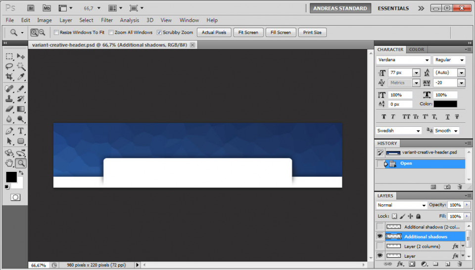 Screenshot of the file variant-creative-header.psd in Adobe Photoshop CS5.