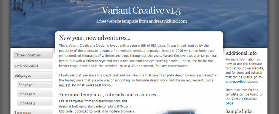 Screenshot of the Variant Creative template after replacing the default header image with an own photo.