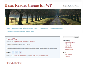 Basic Reader theme for WordPress
