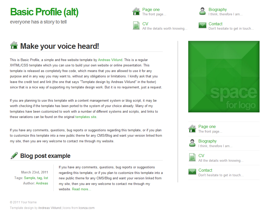 basic profile alternate version screenshot com basic profile alternate version additional navigation menu layout header section and icons from