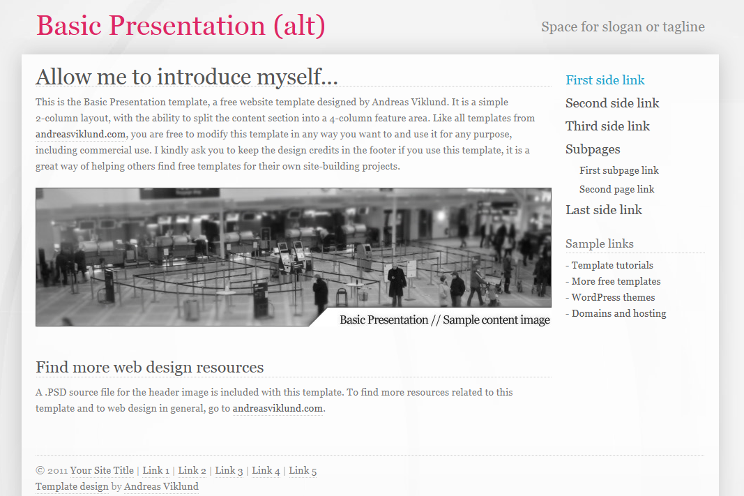 Basic Presentation (alternate version) with right sidebar.