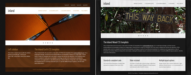 Screenshots of the new Inland Earth and Inland Wood HTML/CSS templates