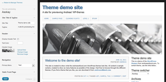 Screenshot of the new theme customization feature in WordPress 3.4 (beta 2)