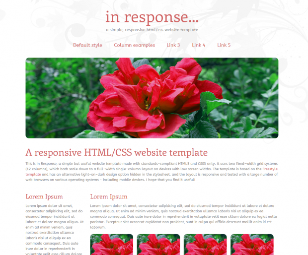 In Response HTML/CSS template